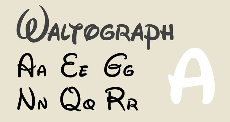Waltograph disney movie tv free font typography