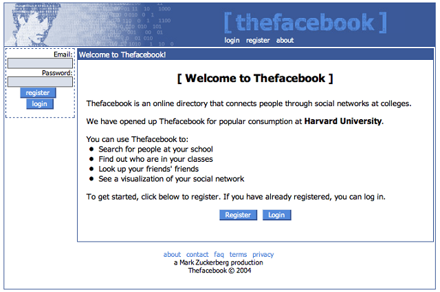 The first version of Facebook. Looks like they could use some design help
