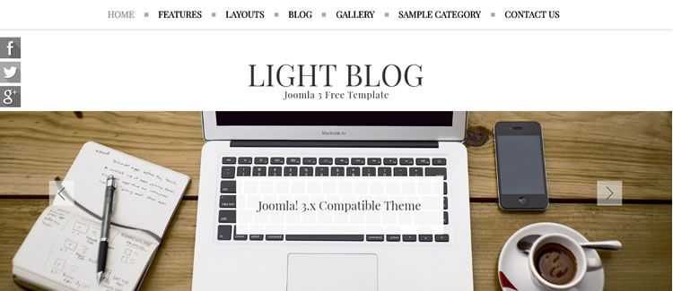 Light Blog flexslider free joomla template