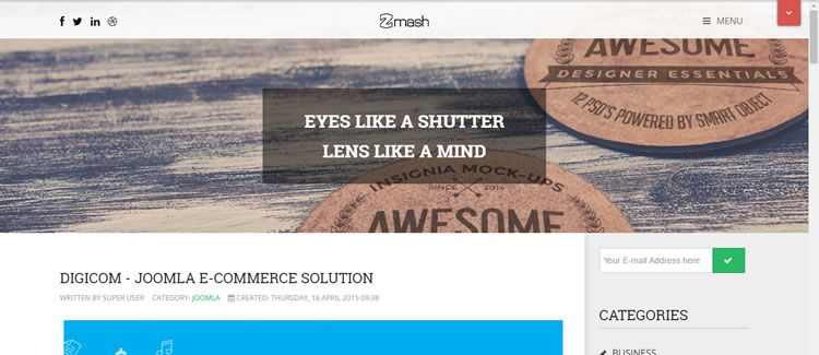 Zmash Expose Framework Bootstrap free joomla template