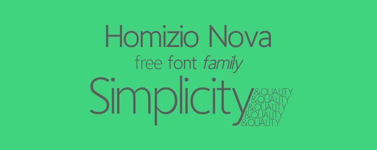 Homizio Nova sans serif free font family typeface