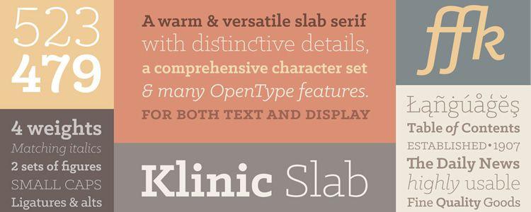 Klinic slab free font family typeface