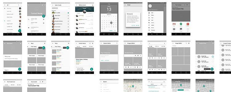 Material Design Wireframe Kit Sketch