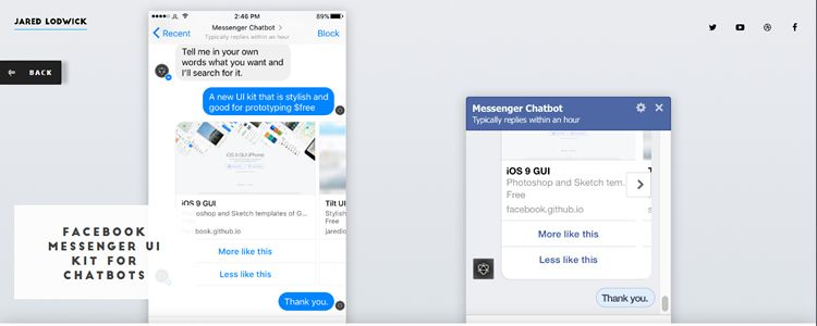 Free Facebook Messenger UI Kit Sketch