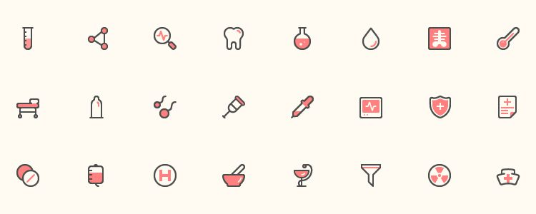 40 Health Icons AI EPS PNG