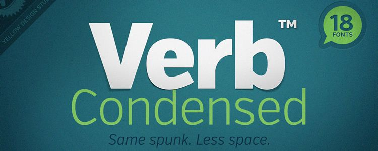 Verb Condensed Regular sans serif free font family typeface