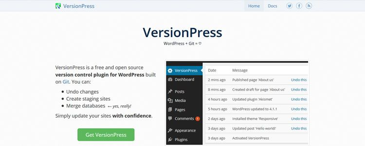 VersionPress open source version control plugin for WordPress built on Git
