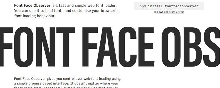 Font Face Observer fast simple web font loader