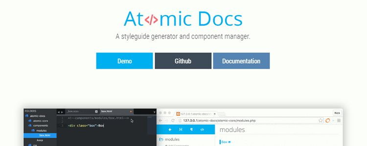 Atomic Docs front-end style guide generator SASS component manager