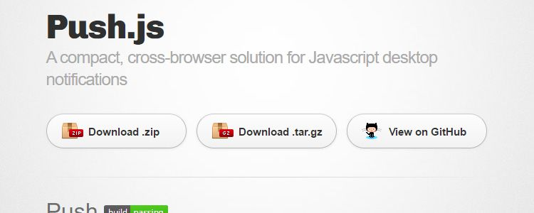 Push.js A compact cross-browser solution Javascript desktop notifications
