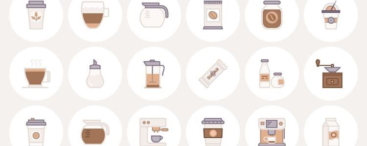 Freebie The Barista Coffee Lover Flat Line Icon Set