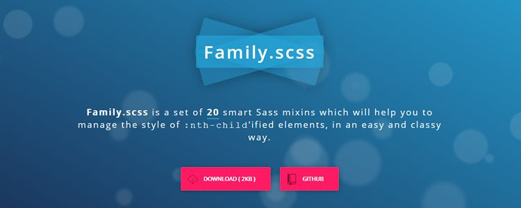 Family.scss set Sass mixins manage style nth-child elements