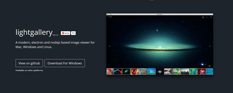 LightGallery modern electron nodejs based image viewer for Mac Windows Linux
