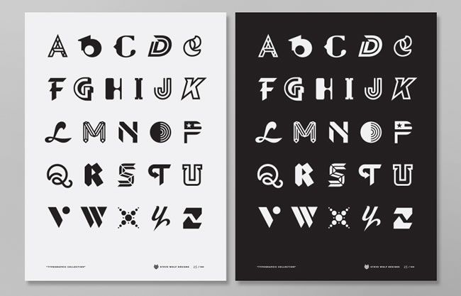 alphabet various fonts from steve wolf