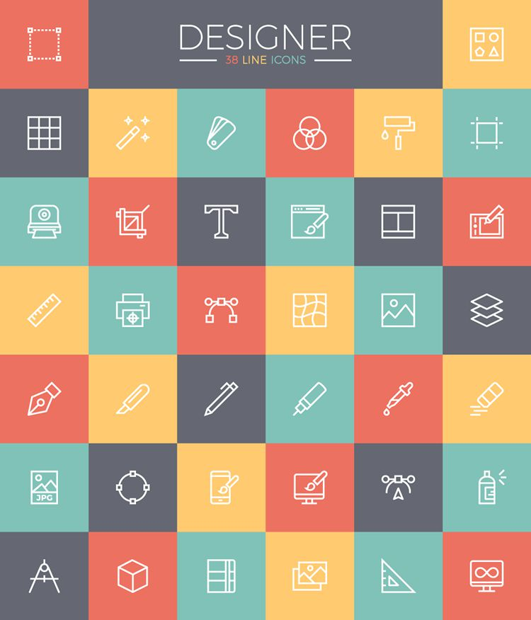 line designer free freebie ai svg icon Set Preview screenshot
