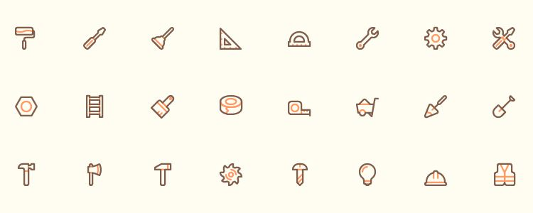 40 Tool designer AI EPS SVG PNG monthly free resources icon set