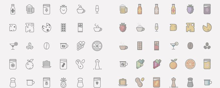 Food Drinks Icon Set AI PNG SVG designer monthly free resources icon set