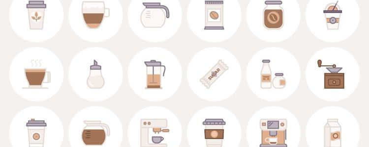 Barista & Coffee Lover Flat Line Icon Set AI EPS SVG PNG designer monthly free resources icon set