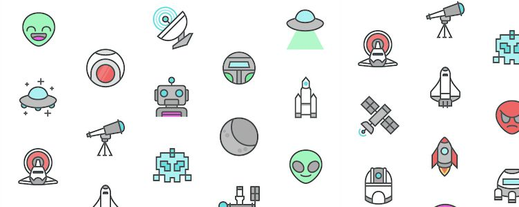 Space AI PNG SVG designer monthly free resources icon set