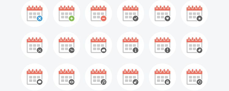 Clean Calendar Vector AI EPS PNG PSD SVG designer monthly free resources icon set
