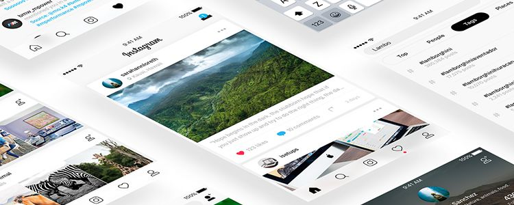 Instagram sketch free resources ui kit template
