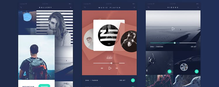 Fade App PSD designer monthly free resources ui kit template