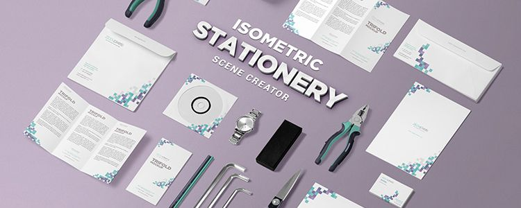 Isometric Stationery Scene Creator psd designer monthly free resources mockup template