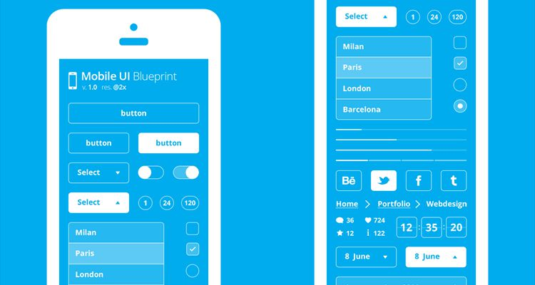 Free Wireframe Templates For Mobile Web And UX Design - Mobile app design templates