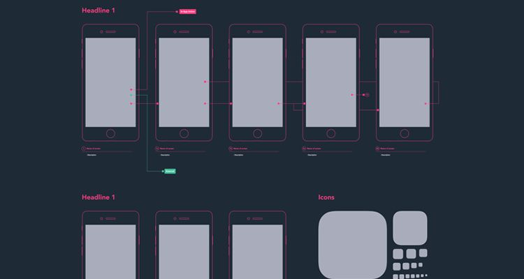Mobile Diagram sketch ux flowchart userflow development free wireframe kit template UI design