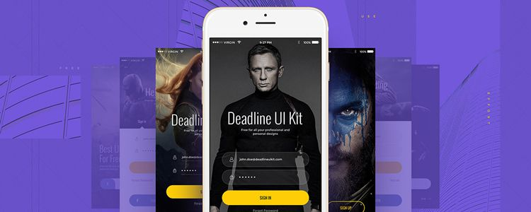 Deadline Mobile UI Kit PSD