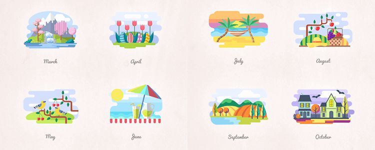2 Months And Seasons Icons Vector Illustrations PNG SVG EPS AI