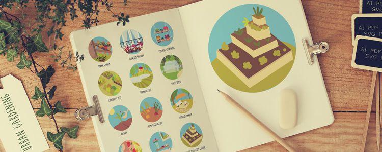 Urban Gardening Icons AI PDF SVG PNG