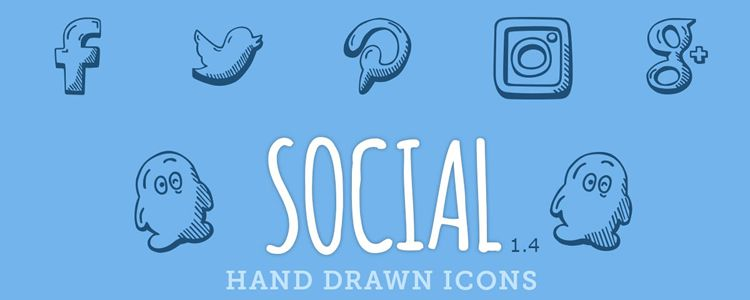Hand Drawn Social Media Icons AI EPS PDF SVG