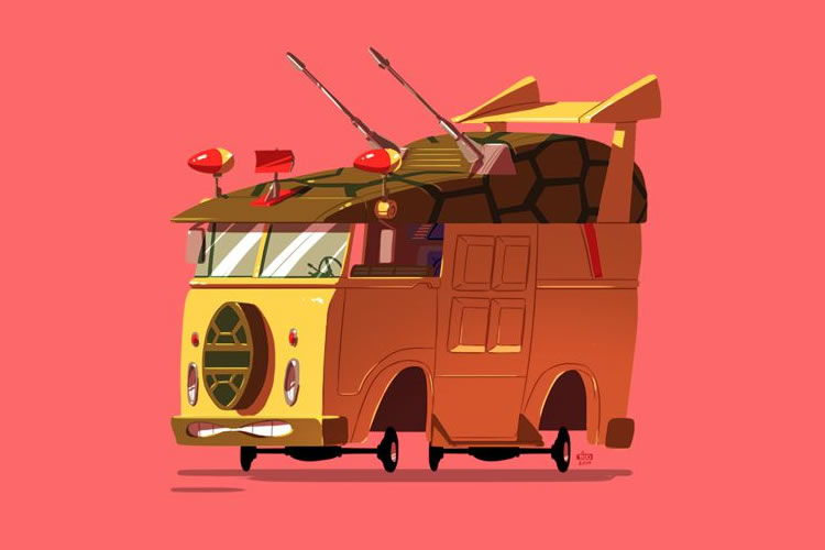 Nostalgic Poster Illustrations of Popular Movie Vehicles