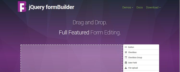 jQuery formBuilder jQuery plugin drag and drop form creation
