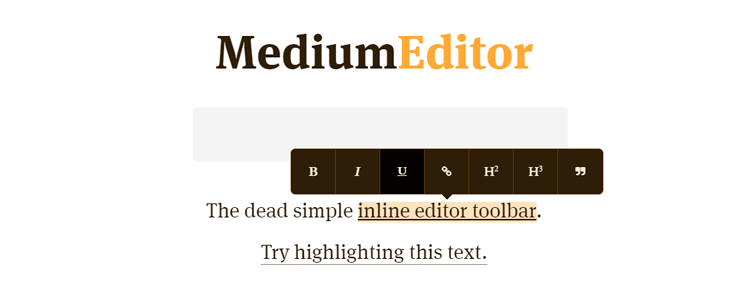 vanilla JavaScript MediumEditor lightweight Medium WYSIWYG inline editor toolbar clone