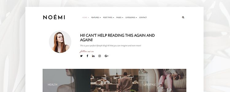 Photoshop PSD Free Noemi Pure and Elegant Blog Theme