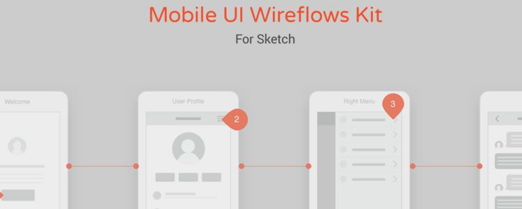 Mobile UI Wireflow Template Kit