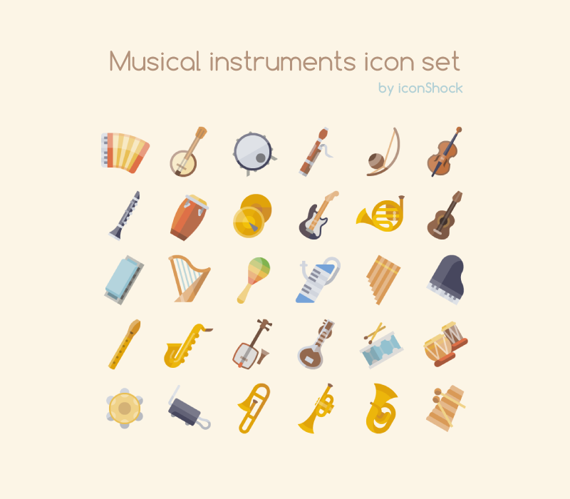 Free Musical Instrument Icon Set Preview png svg