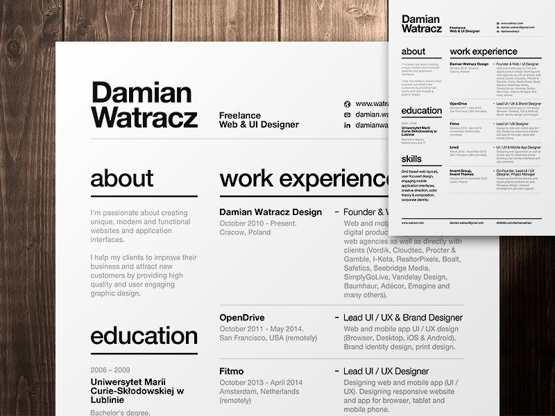 a well organized layout - Ux Designer Resume