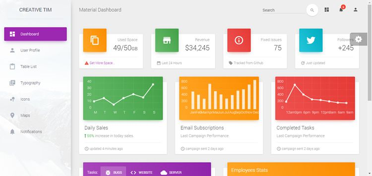 Material Dashboard Free Bootstrap Material Design Admin Free Admin Template