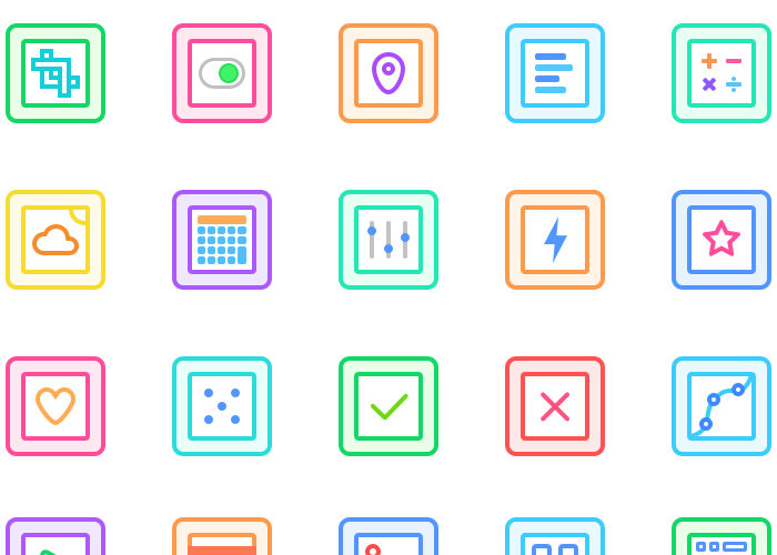 Gallericons – 30 Free Rounded & Colorful Icons for Sketch App