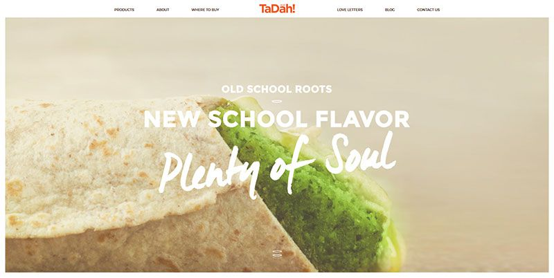 Tadah Foods handdrawn typography web design trend