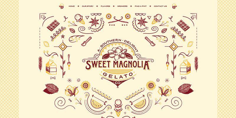 Sweet Magnolia Gelato handdrawn typography web design trend