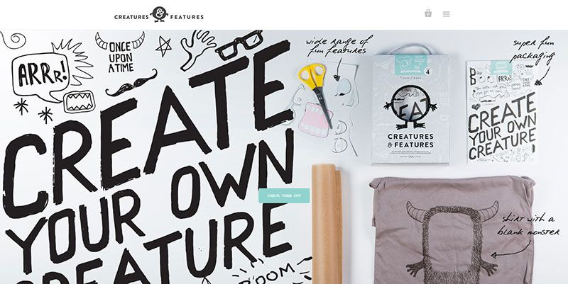 Creatures and Features handdrawn typography web design trend