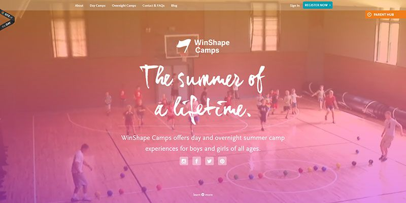 WinShapeCamps handdrawn typography web design trend