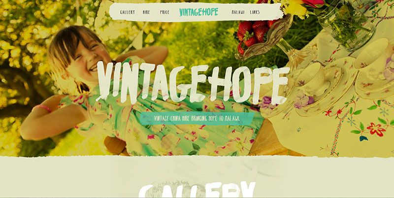 Vintage Hope handdrawn typography web design trend
