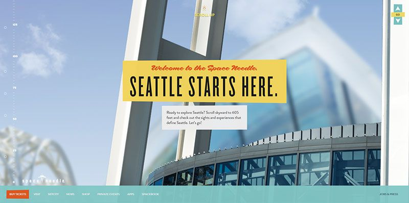Space Needle handdrawn typography web design trend