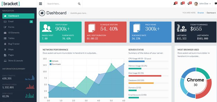 20 free bootstrap admin dashboard templates for Admin template free download in php