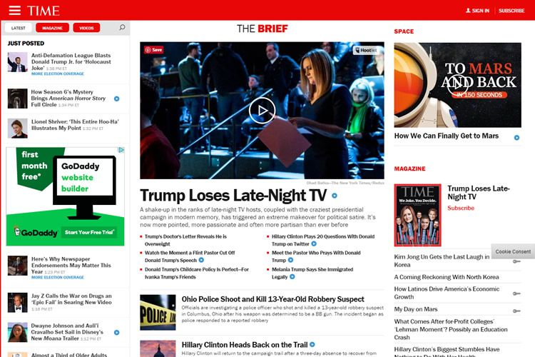 magazine web layout newspaper Time Magazine